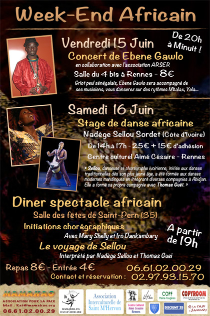 "Affiche Mamakao pour le ""Week-End Africain"" - Juin 2012"
