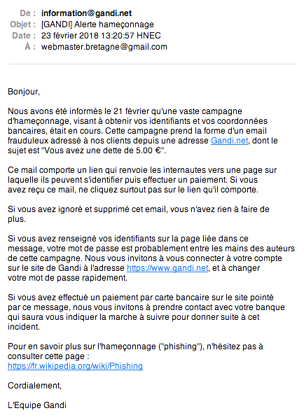 Alerte phishing : le message d'OVH