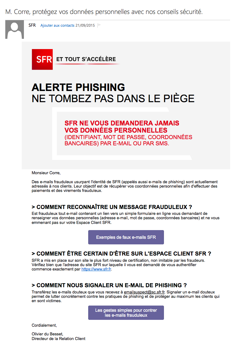 Alerte phishing : le message de SFR