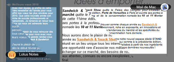 Comparaison de message entre Mail de Mac et Loturs Notes
